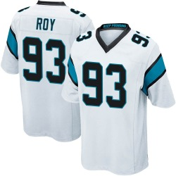 Men's Bravvion Roy Carolina Panthers No.93 Game Jersey - White