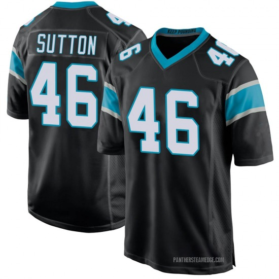 Youth Cam Sutton Carolina Panthers No.46 Game Team Color Jersey - Black